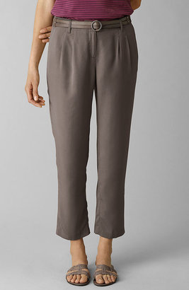 Tencel pleated cropped pants