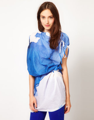 JNBY Printed Cotton Top With Drape Neck