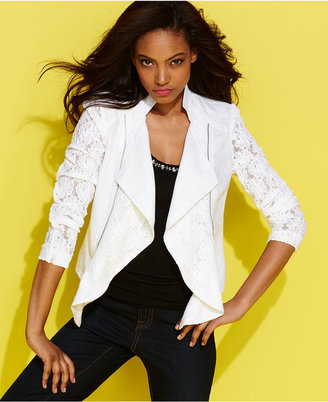 INC International Concepts Jacket, Linen Lace Draped Moto