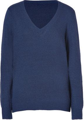 L'Agence LAgence Navy V-Neck Knit Pullover
