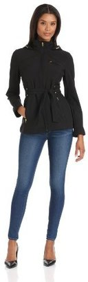 Larry Levine Women's Belted Water-Resistant Soft Shell Jacket