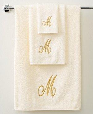 "Avanti Bath Towels, Monogram Initial Script Ivory and Gold 11"" x 18"" Fingertip Bedding"