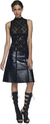 Proenza Schouler Black Sleeveless Hand Crochet Halter Dress