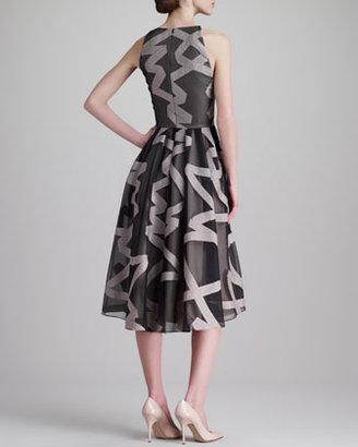 Lela Rose Ribbon-Embroidered Halter Dress, Gray/Blush
