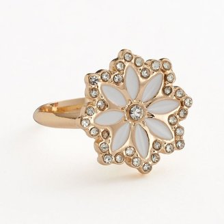 Lauren Conrad gold tone simulated crystal flower ring