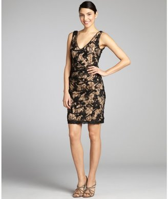 Nicole Miller black and nude lace flower appliqued sleeveless dress