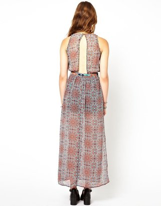 Pepe Jeans Printed Maxi Dress With Beads And Belt