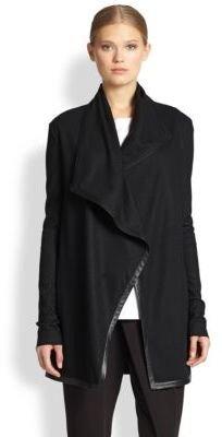 Helmut Lang Sonar Wool Leather-Trimmed Draped Cardigan