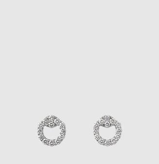 Gucci White Gold And Diamond Horsebit Earrings