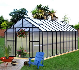 Bed Bath & Beyond Riverstone Monticello 8-Foot x 16-Foot Residential Greenhouse in Black