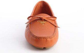 Prada Orange Leather Bow Detail Slip On Loafers