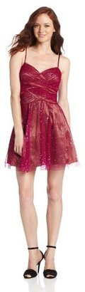 Adrianna Papell Hailey Logan by Juniors Glitter Party Mesh Inset Dress