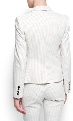 MANGO 修身尺寸条纹外套