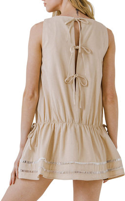ENGLISH FACTORY Sleeveless Tie-Back Mini Dress