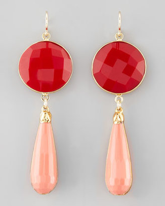 Devon Leigh Coral & Agate Teardrop Earrings