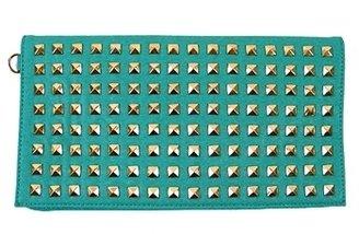Kitson Turquoise Scandicci Studded Clutch