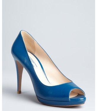 Prada cobalt saffiano leather peep toe platforms