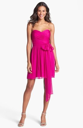 Jill Stuart Jill Pleated Silk Chiffon Sweetheart Dress