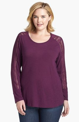 Lucky Brand 'Bobbi' Lace Inset Top (Plus Size)