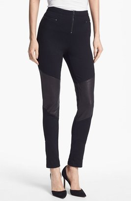 Alice + Olivia Skinny Leather Panel Pants Womens Black Size 4 4