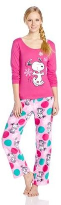 Briefly Stated Junior's Snoopy Top and Printed Bottom Pajama Set