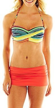 JCPenney jcpTM Striped Twist Bandeau Swim Top or Solid Skirted Bottoms
