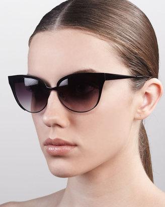 Barton Perreira Valerie Metal-Frame Cat-Eye Sunglasses, Black