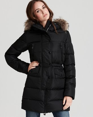 Moncler Fragon Cinched Down Coat with Fur