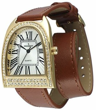 Peugeot Womens Tone Double Wrap Crystal Watch