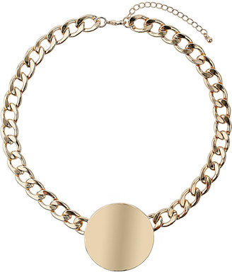 Topshop Gold Curb Chain Disc Necklace