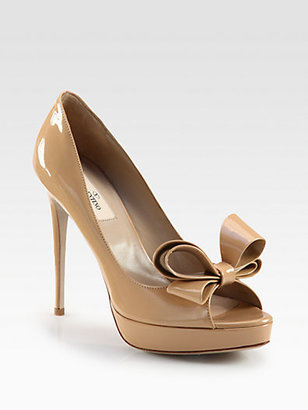 Valentino Couture Patent Leather Bow Pumps