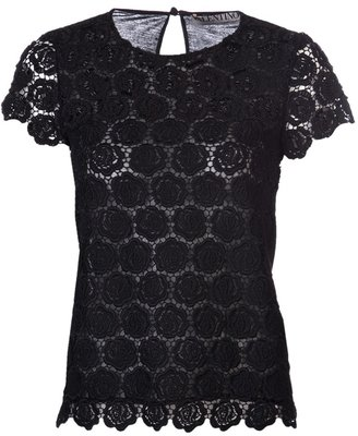 Valentino embellished floral lace t-shirt