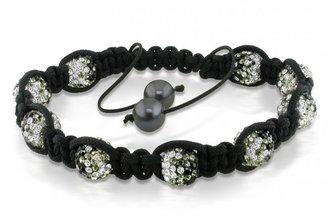 Ice Freshwater Black Pearl and Black and White Cubic Zirconia Shamballa Bracelet