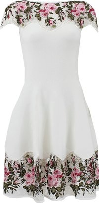Blumarine Floral Dress With Macrame Detail