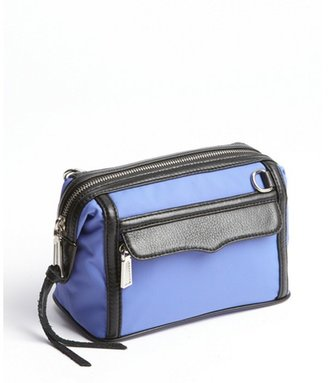 Rebecca Minkoff blue nylon and leather top zip 'Mab' makeup pouch