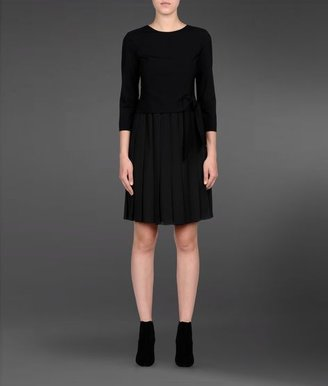Emporio Armani Stretch Wool Dress With Pleated Skirt