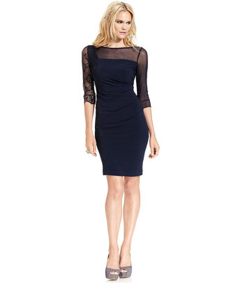Vince Camuto Dress, Three-Quarter-Sleeve Lace Sheath