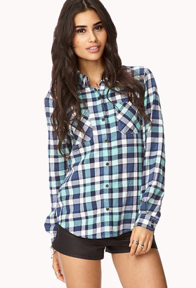 Forever 21 Americana Plaid Button Down