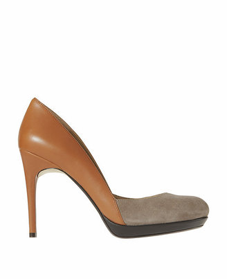 Kimberly Colorblocked Leather and Suede Platform Pumps