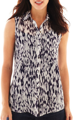 Liz Claiborne Sleeveless Button-Front Blouse with Cami - Tall