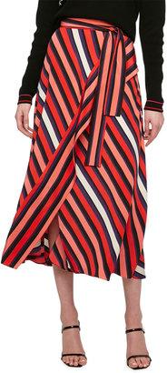 Diane von Furstenberg Tilda Multicolor Stripe Wrap Midi Skirt