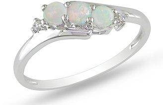 Ice.com 1/5 Carat Opal and Diamond 10K White Gold Ring