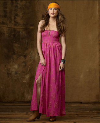 Denim & Supply Ralph Lauren Dress, Strapless Paisley-Print Smocked Maxi