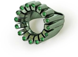 Flora Bhattachary Lakshmi Glow Cocktail Ring In Parrot Green
