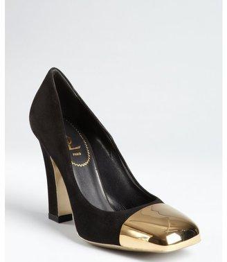 Yves Saint Laurent black suede 'Mae 105' mirrored cap toe pumps