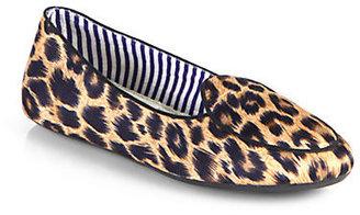 Charles Philip Shanghai Satin Leopard-Print Smoking Slippers