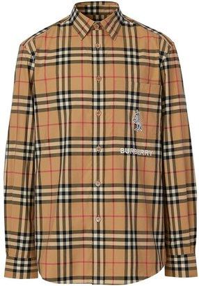 Burberry Classic Fit Zebra Applique Check Cotton Shirt