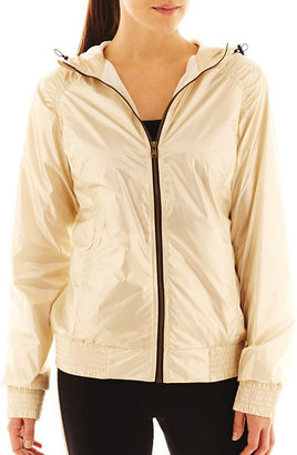 JCPenney Xersion Full-Zip Smocked-Trim Hooded Jacket