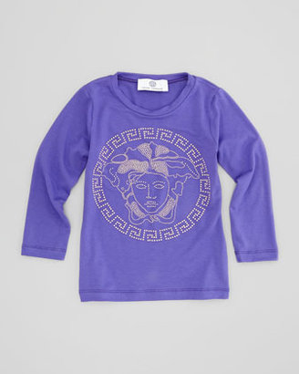 Versace Woven Leopard-Print Mini Skirt, Yellow/Purple, Sizes 2-6