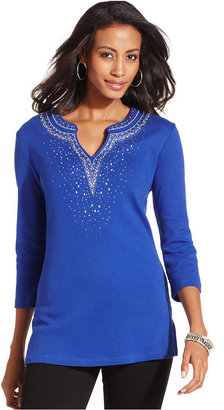 JM Collection Top, Three-Quarter-Sleeve Studded Tunic